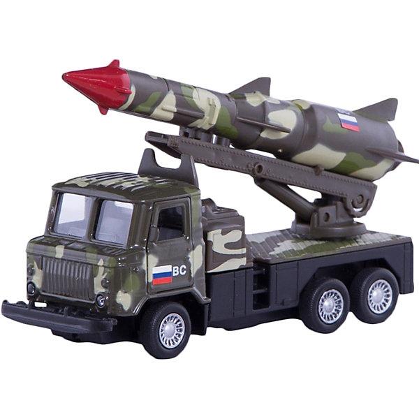 Металлическая машина Технопарк ГАЗ 66 грузовик с ракетой, 12 см (зеленый камуфляж)Военный транспорт<br>Машина ГАЗ 66 с ракетой 12 см зеленый камуфляж, металлическая инерционная, с открывающимися дверями.<br>Ширина мм: 190; Глубина мм: 60; Высота мм: 160; Вес г: 200; Возраст от месяцев: 36; Возраст до месяцев: 84; Пол: Мужской; Возраст: Детский; SKU: 7343032;