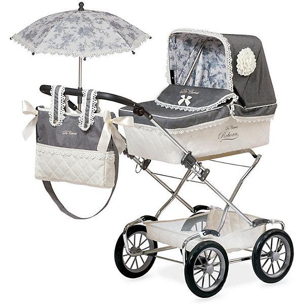 Коляска для кукол Реборн DeCuevas с сумкой и зонтиком, 90 смТранспорт и коляски для кукол<br>Коляска для кукол классическая люлька-качалка. Бело-серого цвета,с сумочкой на ручку, подушкой и зонтиком. У коляски регулируемый наклон ручки, прорезиненные колеса, металлический каркас, удобная сетка внизу для вещей <br>Для детей от 3х лет.                                                                                           Размер упаковки: 50,5 х 24 х 60,5 см.                                                                                 Размер игрушки: 44 x 86 x 90 см.                                                                                                                                                                                               Производитель: DeCuevas Toys, Испания.                                               Изготовлено: Китай.<br><br>Ширина мм: 505<br>Глубина мм: 240<br>Высота мм: 605<br>Вес г: 6800<br>Возраст от месяцев: 36<br>Возраст до месяцев: 2147483647<br>Пол: Женский<br>Возраст: Детский<br>SKU: 7345159