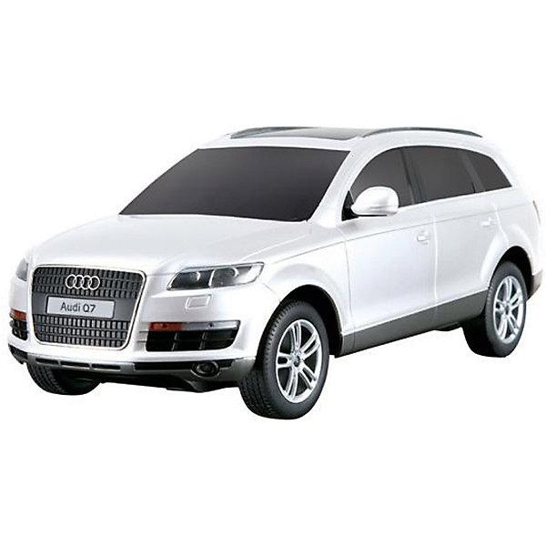 Радиоуправляемая машинка Rastar Audi Q7 1:24, белаяРадиоуправляемые машины<br>Характеристики:<br><br>• возраст: от 3 лет:<br>• материал: металл, пластик;<br>• масштаб: 1:24;<br>• максимальная скорость: 7км/ч;<br>• в комплекте: машина, пульт управления;<br>• тип батареек: 5 батареек АА;<br>• наличие батареек: нет в комплекте;<br>• вес упаковки: 470 гр.;<br>• размер упаковки: 28,5х14х12 см;<br>• страна производитель: Китай.<br><br>Радиоуправляемая машинка Rastar Audi Q7 точная копия оригинала. Управление игрушкой осуществляется с помощью удобного пульта, который позволяет ездить ей во все стороны. Корпус машины выполнен из легкого металла с пластиковыми элементами. Крепление частей — винтами.<br><br>Мощные колеса и амортизация приспособлены к езде не только по ровной поверхности дома, но и на улице по асфальту и бугристой дороге, бросая вызов всем препятствиям. Мини автомобиль понравится и детям, и взрослым, особенно тем, кто коллекционирует подобные экземпляры или обладает настоящим Audi Q7.<br><br>Радиоуправляемую машинку Rastar Audi Q7, 1:24 белую можно купить в нашем интернет-магазине.<br><br>Ширина мм: 285<br>Глубина мм: 140<br>Высота мм: 120<br>Вес г: 470<br>Возраст от месяцев: 36<br>Возраст до месяцев: 180<br>Пол: Мужской<br>Возраст: Детский<br>SKU: 7345270