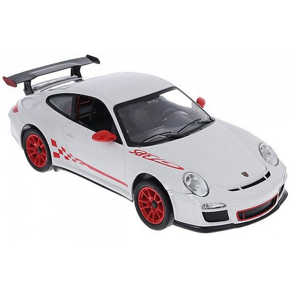 Радиоуправляемая машинка Rastar Porsche GT3 RS 1:14, белаяРадиоуправляемые машины<br>Характеристики:<br><br>• возраст: от 8 лет:<br>• материал: пластик;<br>• масштаб: 1:14;<br>• максимальная скорость: до 12 км/ч;<br>• двигатель: электрический;<br>• в комплекте: машина, пульт управления;<br>• тип батареек: 5 батареек АА; 1 батарейка Крона;<br>• наличие батареек: нет в комплекте;<br>• вес упаковки: 1,02 кг.;<br>• размер машины: 31,9х13,9х9,7 см;<br>• размер упаковки: 43х22,5х17,5 см;<br>• страна производитель: Китай.<br><br>Легендарный спорткар в мини версии — радиоуправляемая машинка Rastar Porsche GT3 RS. Управление игрушкой осуществляется с помощью удобного пульта на частоте 27MHz, который позволяет ездить ей во все стороны на расстояние до 45 м.<br><br>Мощные колеса и амортизация приспособлены к езде не только по ровной поверхности дома, но и на улице по асфальту и бугристой дороге, бросая вызов всем препятствиям. Авто имеет задний привод и разгоняется на ровной дороге до 12 км/ч. Кроме того, когда машина едет вперед, включаются фары, а когда тормозит или сдает назад — стоп-сигналы.<br><br>Мини автомобиль понравится и детям, и взрослым, особенно тем, кто коллекционирует подобные экземпляры.<br><br>Радиоуправляемую машинку Rastar Porsche GT3 RS, 1:14 можно купить в нашем интернет-магазине.<br>Ширина мм: 430; Глубина мм: 22; Высота мм: 175; Вес г: 1023; Возраст от месяцев: 36; Возраст до месяцев: 180; Пол: Мужской; Возраст: Детский; SKU: 7345281;
