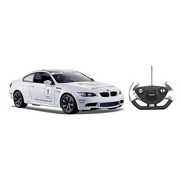 Радиоуправляемая машинка Rastar BMW M3 1:14, белаяРадиоуправляемые машины<br>Характеристики:<br><br>• возраст: от 8 лет:<br>• материал: металл, пластик;<br>• масштаб: 1:14;<br>• максимальная скорость: до 15 км/ч;<br>• в комплекте: машина, пульт управления, инструкция;<br>• тип батареек: 5 батареек АА;<br>• наличие батареек: нет в комплекте;<br>• вес упаковки: 1,38 кг.;<br>• размер машины: 35х15,8х12,6 см;<br>• размер упаковки: 45,5х21,5х19,5 см;<br>• страна производитель: Китай.<br><br>Радиоуправляемая машинка Rastar BMW M3 — реалистичная копия спортивного авто с матовым покрытием. Управление игрушкой осуществляется с помощью удобного пульта на частоте 27MHz, который позволяет ездить ей во все стороны на расстояние до 45 м.<br><br>Мощные колеса и амортизация приспособлены к езде не только по ровной поверхности дома, но и на улице по асфальту и бугристой дороге, бросая вызов всем препятствиям. Авто имеет задний привод и разгоняется на ровной дороге до 15 км/ч. Кроме того, когда машина едет вперед, включаются фары, а когда тормозит или сдает назад — стоп-сигналы.<br><br>Мини автомобиль понравится и детям, и взрослым, особенно тем, кто коллекционирует подобные экземпляры.<br><br>Радиоуправляемую машинку Rastar BMW M3 можно купить в нашем интернет-магазине.<br>Ширина мм: 455; Глубина мм: 21; Высота мм: 195; Вес г: 1380; Возраст от месяцев: 36; Возраст до месяцев: 180; Пол: Мужской; Возраст: Детский; SKU: 7345286;