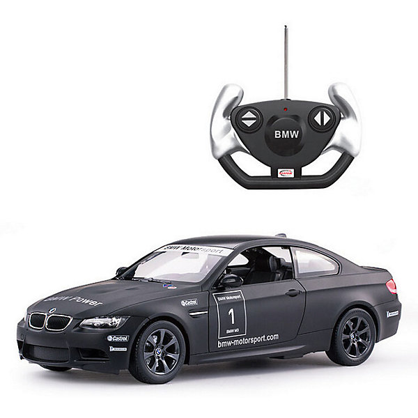 Радиоуправляемая машинка Rastar BMW M3 1:14, чернаяРадиоуправляемые машины<br>Характеристики:<br><br>• возраст: от 8 лет:<br>• материал: металл, пластик;<br>• масштаб: 1:14;<br>• максимальная скорость: до 15 км/ч;<br>• в комплекте: машина, пульт управления, инструкция;<br>• тип батареек: 5 батареек АА;<br>• наличие батареек: нет в комплекте;<br>• вес упаковки: 1,38 кг.;<br>• размер машины: 35х15,8х12,6 см;<br>• размер упаковки: 45,5х21,5х19,5 см;<br>• страна производитель: Китай.<br><br>Радиоуправляемая машинка Rastar BMW M3 — реалистичная копия спортивного авто с матовым покрытием. Управление игрушкой осуществляется с помощью удобного пульта на частоте 27MHz, который позволяет ездить ей во все стороны на расстояние до 45 м.<br><br>Мощные колеса и амортизация приспособлены к езде не только по ровной поверхности дома, но и на улице по асфальту и бугристой дороге, бросая вызов всем препятствиям. Авто имеет задний привод и разгоняется на ровной дороге до 15 км/ч. Кроме того, когда машина едет вперед, включаются фары, а когда тормозит или сдает назад — стоп-сигналы.<br><br>Мини автомобиль понравится и детям, и взрослым, особенно тем, кто коллекционирует подобные экземпляры.<br><br>Радиоуправляемую машинку Rastar BMW M3 можно купить в нашем интернет-магазине.<br>Ширина мм: 455; Глубина мм: 21; Высота мм: 195; Вес г: 1380; Возраст от месяцев: 36; Возраст до месяцев: 180; Пол: Мужской; Возраст: Детский; SKU: 7345287;