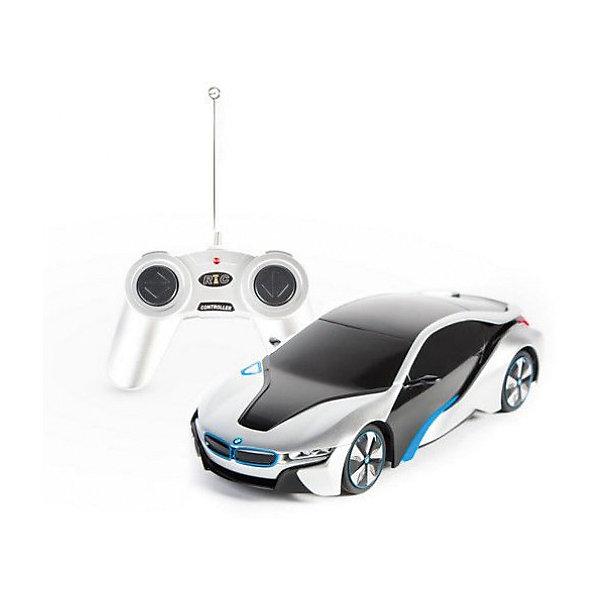 Радиоуправляемая машинка Rastar BMW I8 1:24, серебристаяРадиоуправляемые машины<br>Характеристики:<br><br>• возраст: от 6 лет:<br>• материал: металл, пластик;<br>• масштаб: 1:24;<br>• максимальная скорость: до 12 км/ч;<br>• в комплекте: машина, пульт управления;<br>• тип батареек: 5 батареек АА;<br>• наличие батареек: нет в комплекте;<br>• вес упаковки: 460 гр.;<br>• размер машины: 19х5,7х8,5 см;<br>• размер упаковки: 38,5х12х10 см;<br>• страна производитель: Китай.<br><br>Стиль и скорость в копии BMW I8 от Rastar. Управление игрушкой осуществляется с помощью удобного пульта на частоте 27MHz, который позволяет ездить ей во все стороны на расстояние до 25 м.<br><br>Мощные колеса и амортизация приспособлены к езде не только по ровной поверхности дома, но и на улице по асфальту и бугристой дороге, бросая вызов всем препятствиям. Авто имеет задний привод и разгоняется на ровной дороге до 12 км/ч.<br><br>Мини автомобиль понравится и детям, и взрослым, особенно тем, кто коллекционирует подобные экземпляры.<br><br>Радиоуправляемую машинку Rastar BMW I8, 1:24 можно купить в нашем интернет-магазине.<br><br>Ширина мм: 385<br>Глубина мм: 120<br>Высота мм: 10<br>Вес г: 460<br>Возраст от месяцев: 36<br>Возраст до месяцев: 180<br>Пол: Мужской<br>Возраст: Детский<br>SKU: 7345288