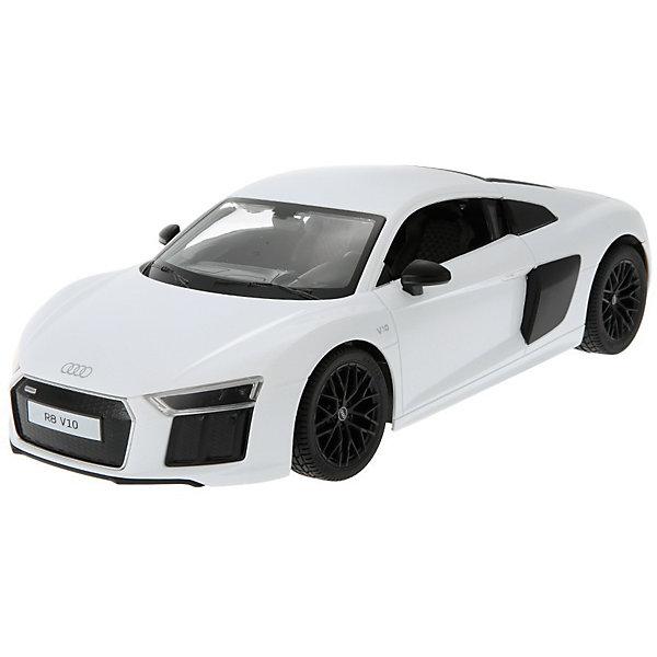 Радиоуправляемая машинка Rastar Audi R8 V10 2015 Version 1:14, белаяРадиоуправляемые машины<br>Характеристики:<br><br>• возраст: от 6 лет:<br>• материал: пластик;<br>• масштаб: 1:14;<br>• в комплекте: машина, пульт управления;<br>• тип батареек: 5 батареек АА; 1 батарейка LR6 1.5V;<br>• наличие батареек: нет в комплекте;<br>• вес упаковки: 1,18 кг.;<br>• размер упаковки: 43х22,5х17,5 см;<br>• страна производитель: Китай.<br><br>Audi R8 — звезда спортивных автомобилей — теперь в уменьшенной копии R8 2015 Version от Rastar. Управление игрушкой осуществляется с помощью удобного пульта на частоте 27MHz, который позволяет ездить ей во все стороны на расстояние в десятки метров.<br>Мощные колеса и амортизация приспособлены к езде не только по ровной поверхности дома, но и на улице по асфальту и бугристой дороге, бросая вызов всем препятствиям. Авто едет вперед, включаются фары, а когда тормозит или сдает назад — стоп-сигналы. <br><br>Мини автомобиль понравится и детям, и взрослым, особенно тем, кто коллекционирует подобные экземпляры.<br><br>Радиоуправляемую машинку Rastar R8 2015 Version, 1:14 можно купить в нашем интернет-магазине.<br>Ширина мм: 430; Глубина мм: 225; Высота мм: 175; Вес г: 1183; Возраст от месяцев: 36; Возраст до месяцев: 180; Пол: Мужской; Возраст: Детский; SKU: 7345294;