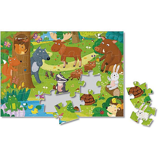 Пазл листовой на подложке. Лесные животные. 24 детали. 21х29,5 см. ГЕОДОМПазлы для малышей<br>Характеристики товара:<br><br>• ISBN:4607177454450;<br>• возраст: от 3 лет;<br>•материал: картон;<br>• количество элементов: 24;<br>• размер собранной картины: 21х29,5 см.;<br>• упаковка:картонная коробка.; <br>• размер упаковки:30х21,5х0,5 см.; <br>• вес: 132 гр.;<br>• издательство:   ГеоДом;<br>• страна: Россия.<br><br>Пазл листовой на подложке «Лесные животные» из серии «Новый год» от российского издательства ГеоДом состоит 24 крупных и ярких элементов, собрав которые, малыш получит красивую картину с изображение животных, обитающих в лесу. <br><br>В комплект добавлена картинка, по образцу которой малыш будет собирать пазл. Насыщенная цветовая палитра и крепкая подложка помогут ему в собирании данного рисунка. Пазл выполнен из высококачественных материалов, что обеспечивает идеальное прилегание элементов друг к другу. <br><br>Собирание пазлов это не только интересно, но и полезно: ведь в процессе создания картинки развивается мелкая моторика, тренируются наблюдательность и логическое мышление.<br><br>Пазл листовой на подложке «Лесные животные», 24  элемента, Изд. ГеоДом  можно купить в нашем интернет-магазине.<br>Ширина мм: 300; Глубина мм: 215; Высота мм: 4; Вес г: 132; Возраст от месяцев: 36; Возраст до месяцев: 2147483647; Пол: Унисекс; Возраст: Детский; SKU: 7345483;