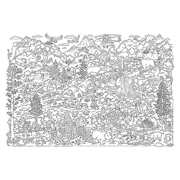 Большая раскраска. Лес и Горы. 101х69 см. ГЕОДОМРаскраски для детей<br>Характеристики товара:<br><br>• ISBN:4607177454375;<br>• возраст: от 6 лет;<br>• иллюстрации: черно-белые;<br>• состав: ламинированная бумага;<br>• размеры раскраски: 101х69 см.; <br>• упаковка: картонная коробка;<br>• размеры упаковки: 75х5,5х5,5 см.;<br>• вес: 175 гр.;<br>• издательство:   ГеоДом;<br>• страна: Россия.<br><br>Большая раскраска «Лес и горы» из серии «Я познаю мир» - это не просто раскраска, а огромное детское полотно для творчества! <br><br>Большая раскраска «Лес и горы»  –  это большой и дружный поход с рюкзаками и палатками в горный лес.    Лес прекрасен в любое время года. Здесь растут сосны, ели, пихты, дубы, много ягод и грибов. Урожаю шишек и грибов радуются белки и бурундуки. Быстро строят хатку дружные бобры. В кустах осторожно к реке пробирается лось. Высоко в горах, у самых ледников, прячется снежный барс.   <br><br>Рисунок содержит множество интересных деталей, которые делают процесс раскрашивания очень увлекательным. Развивайте свои творческие способности, узнавайте новое и знакомьтесь с обитателями леса и гор. <br><br>Бумага раскраски подходит для фломастеров, карандашей, гуаши, акварельных красок и всего остального – Ваш малыш может дать волю воображению! А готовое произведение можно повесить и на стену.<br><br>Раскраску в конверте «Лес и горы» , 101х69 см., Изд. ГеоДом  можно купить в нашем интернет-магазине.<br>Ширина мм: 750; Глубина мм: 55; Высота мм: 55; Вес г: 175; Возраст от месяцев: 72; Возраст до месяцев: 2147483647; Пол: Унисекс; Возраст: Детский; SKU: 7345510;