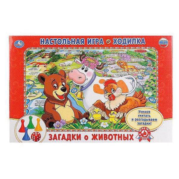 Настольная игра-ходилка Умка Загадки про животныхНастольные игры ходилки<br>Характеристики:<br><br>• размер упаковки: 3х21х33 см.;<br>• упаковка: коробка;<br>• состав: картон;<br>• вес: 150 г.;<br>• для детей в возрасте: от 3 лет;<br>• страна производитель: Россия<br><br>Игра-ходилка «Загадки про животных» издательства «Умка» от автора М.Дружининой прекрасный подарок для мальчишек и девчонок. В новой игре можно отправиться в волшебное путешествие в мир животных по сказочному игровому полю. Передвигаться нужно с помощью четырёх разноцветных фишек и кубика.<br><br>Играть в игру можно всей семьёй или пригласить друзей. В ней могут учавствовать от двух до четырёх игроков. <br><br>Играя дети развивают не только память, внимательность, логическое и пространственное мышление, моторику рук, усидчивость, терпение, но просто весело и с пользой проведут время.<br><br>Игру-ходилку «Загадки про животных», можно приобрести в нашем интернет-магазине.<br><br>Ширина мм: 2100<br>Глубина мм: 300<br>Высота мм: 3300<br>Вес г: 150<br>Возраст от месяцев: 36<br>Возраст до месяцев: 84<br>Пол: Унисекс<br>Возраст: Детский<br>SKU: 7345736