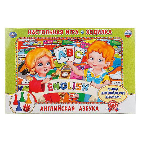 Настольная игра-ходилка Умка Английская азбукаНастольные игры ходилки<br>Характеристики:<br><br>• размер упаковки: 3х21х33 см.;<br>• упаковка: коробка;<br>• состав: картон;<br>• вес: 150 г.;<br>• для детей в возрасте: от 5 лет;<br>• страна производитель: Россия<br><br>Игра-ходилка «Английская азбука» издательства «Умка» прекрасный подарок для мальчишек и девчонок. В новой игре можно отправиться в волшебное путешествие в мир английского алфавита по сказочному игровому полю. Передвигаться нужно с помощью четырёх разноцветных фишек и кубика. Каждый ход-это буква алфавита с транскрипцией и слово с переводом. <br><br>Играть в игру можно всей семьёй или пригласить друзей. В ней могут учавствовать от двух до четырёх игроков.<br><br>Играя дети развивают не только память, внимательность, логическое и пространственное мышление, моторику рук, усидчивость, терпение, но просто весело и с пользой проведут время.<br><br>Игру-ходилку «Английская азбука», можно приобрести в нашем интернет-магазине.<br>Ширина мм: 6100; Глубина мм: 2400; Высота мм: 3400; Вес г: 150; Возраст от месяцев: 48; Возраст до месяцев: 84; Пол: Унисекс; Возраст: Детский; SKU: 7345737;