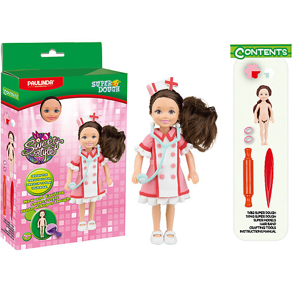 Масса для лепки Paulinda Создай свой стиль: Наряд для куклы, МедсестраНаборы стилиста и дизайнера<br>Характеристики:<br><br>• набор для лепки;<br>• создание нарядов из пластилина для куклы;<br>• развитие фантазии, образного мышления, мелкой моторики пальчиков;<br>• содержимое набора: кукла 14 см, масса для лепки, аксессуары для работы с массой; <br>• размер упаковки: 16х5х28,5 см;<br>• вес: 275 г.<br><br>Создание одежки для куколки – увлекательное и творческое занятие. Девочка использует массу для лепки, наличие в наборе разных цветов которой дают возможность совмещать и комбинировать. Куколка высотой 14 см с пластиковым туловищем и конечностями имеет нейлоновые волосы, которые можно легко расчесывать и создавать прически. В процессе игры развивается способность творчески мыслить, создавать фантастические наряды для куклы и декорировать готовые изделия. <br><br>Массу для лепки «Создай свой стиль», набор для создания наряда для куклы Paulinda можно купить в нашем интернет-магазине.<br>Ширина мм: 160; Глубина мм: 48; Высота мм: 285; Вес г: 275; Возраст от месяцев: 60; Возраст до месяцев: 180; Пол: Женский; Возраст: Детский; SKU: 7345758;