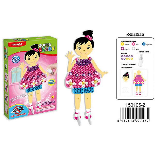 3D мозаика Paulinda Super Beads Сздай свой платье, розовый нарядМозаика детская<br>Характеристики:<br><br>• мозаика – набор для развития мелкой моторики;<br>• детали мозаики выкладываются на шаблон;<br>• готовая конструкция опрыскивается водой из пульверизатора;<br>• детали мозаики склеиваются друг с другом;<br>• получается куколка из картона, которая одета в дизайнерское платье из мозаики;<br>• комплект набора: 10 блесток, 2 картонные основы, 1 пульверизатор для воды, 1 клей, инструкция, более 95 деталей;<br>• для склеивания утюг не требуется;<br>• материал: пластик;<br>• размер упаковки: 16,5х3,7х26,7 см;<br>• вес: 233 г.<br><br>Набор для детского творчества Paulinda предлагает детям старше 5 лет изготовить плтье из мозаики. В наборе имеется шаблон, на котором выкладывается аппликация из цветных деталей мозаики. В процессе игры развивается сосредоточенность, внимание, координация движений, цветовосприятие. <br><br>Мозаику 3D «Создай свое платье», более 95 деталей, без использования утюга можно купить в нашем интернет-магазине.<br>Ширина мм: 165; Глубина мм: 37; Высота мм: 267; Вес г: 233; Возраст от месяцев: 60; Возраст до месяцев: 120; Пол: Женский; Возраст: Детский; SKU: 7345770;