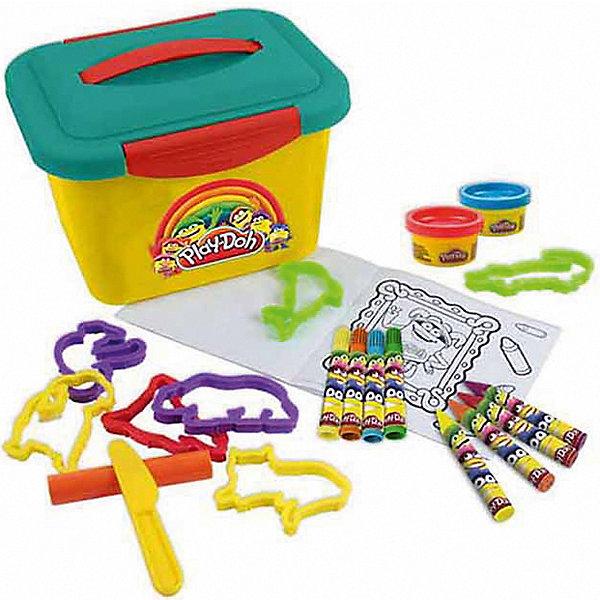 Набор Play doh Маленькая мастерскаяНаборы для лепки<br>Характеристики товара:<br><br>• возраст: от 3 лет;<br>• пол: для девочек и мальчиков;<br>• комплектация: 4 минимаркера, 4 восковых мелка, 8 моделей животных, 2 цвета пасты для лепки, 10 листов бумаги;<br>• из чего сделана игрушка (состав): пластик, пластилин, бумага;<br>• размер упаковки: 24х20х16 см.;<br>• вес: 600 гр.;<br>• упаковка: чемоданчик с крышкой;<br>• страна обладатель бренда: США.<br><br>Набор «Маленькая мастерская» позволяет не только лепить, но и рисовать, а также раскрашивать.  <br><br>Мелки представлены в 4 различных цветах, они являются восковыми, поэтому рисунки, созданные с помощью них, очень яркие и насыщенные.<br><br>Минимаркеры представлены в 4 различных цветах, они отлично подойдут для обведения контуров на своем рисунке, чтобы сделать их более заметными.<br><br>Формочки-трафареты представлены в 8 возможных вариантах. С помощью них получится нарисовать различных животных.<br><br>Игра с данным набором позволяет ребенку потренировать мелкую моторику рук, пофантазировать, стать более аккуратным и внимательным к мелким деталям.<br><br>Набор «Маленькая мастерская» можно купить в нашем интернет-магазине.<br>Ширина мм: 240; Глубина мм: 200; Высота мм: 160; Вес г: 600; Возраст от месяцев: 36; Возраст до месяцев: 120; Пол: Унисекс; Возраст: Детский; SKU: 7359094;