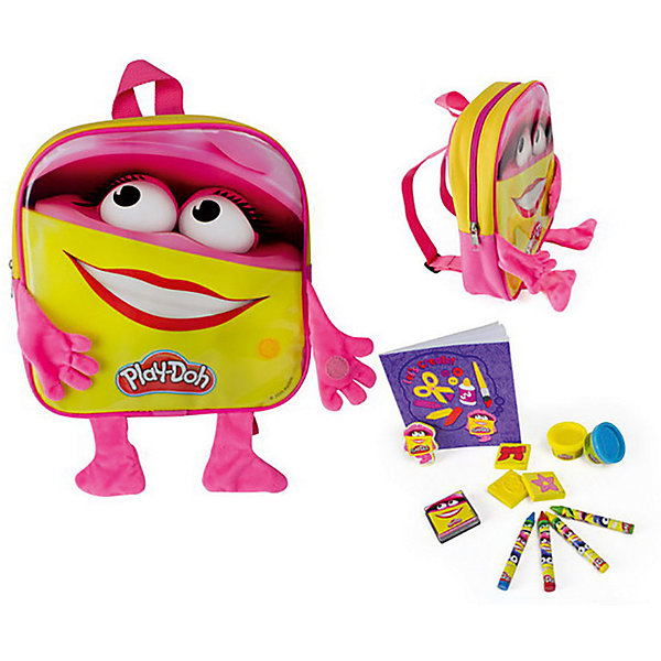 Набор Play doh Рюкзачок для девочки с плюшевыми ручками и ножкамиНаборы для лепки игровые<br>Характеристики товара:<br><br>• возраст: от 3 лет;<br>• пол: для девочек;<br>• комплектация: рюкзак, 4 марки, блокнот, 4 восковых мелка, книжка для раскрасок, 2 цвета пасты для лепки;<br>• из чего сделана игрушка (состав): текстиль, пластик, металл, бумага, мел, пластилин;<br>• размер упаковки: 23,5х6х24,5 см.;<br>• вес: 350 гр.;<br>• тип застежки: молния;<br>• количество отделений: 1;<br>• страна обладатель бренда: Франция.<br><br>Набор для творчества «Рюкзачок с ручками и ножками» поможет девочке интересно провести время.<br><br>В рюкзаке находятся раскраска, четыре восковых мелка, блокнот, марки и две пасты для лепки. Все предметы очень яркие и позитивные. <br><br>Рюкзачок выполнен в желтых и розовых цветах. Озорные глазки и широкая улыбка, нарисованные на нем, поднимают настроение. На ручках имеются специальные липучки, при помощи которых они прикрепляются к рюкзаку. <br><br>Набор «Рюкзачок с ручками и ножками» можно купить в нашем интернет-магазине.<br>Ширина мм: 235; Глубина мм: 60; Высота мм: 245; Вес г: 350; Возраст от месяцев: 36; Возраст до месяцев: 120; Пол: Унисекс; Возраст: Детский; SKU: 7359099;
