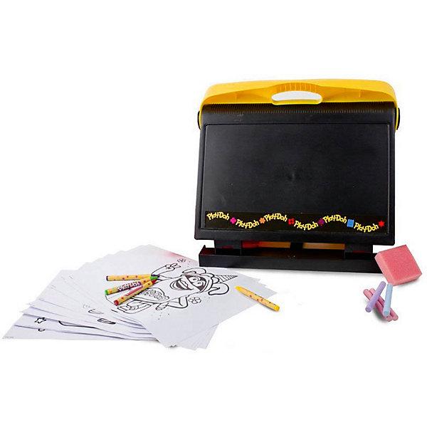 Набор Play-doh Креативная студияДоски и коврики для рисования<br>Характеристики товара:<br><br>• возраст: от 3 лет;<br>• пол: для девочек и мальчиков;<br>• комплектация: доска для рисования, 4 восковых мелка, 10 листов для раскрашивания, губка, 4 мелка;<br>• из чего сделана игрушка (состав): пластик, бумага, воск;<br>• размер упаковки: 36х8х34,5 см.;<br>• вес: 980 гр.;<br>• упаковка: картонная коробка;<br>• страна обладатель бренда: Франция.<br><br>Доска для рисования «Креативная студия» это потрясающая находка для маленьких художников. <br><br>Комплект включает в себя уникальную доску, листы для раскрашивания с изображениями забавных персонажей, разноцветные мелки и губку. <br><br>Благодаря восхитительному набору, ребенок проявит творческие и художественные способности, добавит яркие краски в готовые изображения и создаст множество собственных рисунков.<br><br>На доске можно писать и рисовать мелками, создавая всевозможные надписи и заметки, решая примеры и задачи. Также модель можно использовать и в качестве креативного клипборда.<br><br>Набор для творчества «Креативная студия» можно купить в нашем интернет-магазине.<br>Ширина мм: 360; Глубина мм: 80; Высота мм: 345; Вес г: 980; Возраст от месяцев: 36; Возраст до месяцев: 120; Пол: Унисекс; Возраст: Детский; SKU: 7359101;