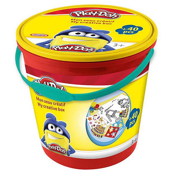 Набор Play doh Ведерко для творчестваНаборы для лепки игровые<br>Характеристики товара:<br><br>• возраст: от 3 лет;<br>• пол: для девочек и мальчиков;<br>• комплектация: 10 листов бумаги, 8 восковых мелков, 20 наклеек, 3 цвета пасты для лепки, 4 маркера, коврик для игры;<br>• из чего сделана игрушка (состав): тесто, бумага, мел, текстиль, пластик;<br>• размер упаковки: 24х23,5х23 см.;<br>• вес: 420 гр.;<br>• упаковка: пластиковое ведро;<br>• страна обладатель бренда: Франция.<br><br>Набор для лепки «Творческое ведерко» понравится детям, которые любят создавать оригинальные поделки своими руками.<br><br>В удобном для хранения ведерке ребенок найдет все необходимое для увлекательного творческого процесса: пасту для лепки, мелки, наклейки, комплект бумаги, маркеры, а также небольшой коврик для игры, который позволит защитить рабочую поверхность от загрязнений. <br><br>Такое тесто станет любимым материалом ребенка, ведь оно хорошо мнется, не липнет к рукам и отлично смешивается между собой.<br><br>Набор «Творческое ведерко» можно купить в нашем интернет-магазине.<br>Ширина мм: 240; Глубина мм: 235; Высота мм: 230; Вес г: 420; Возраст от месяцев: 36; Возраст до месяцев: 120; Пол: Унисекс; Возраст: Детский; SKU: 7359104;