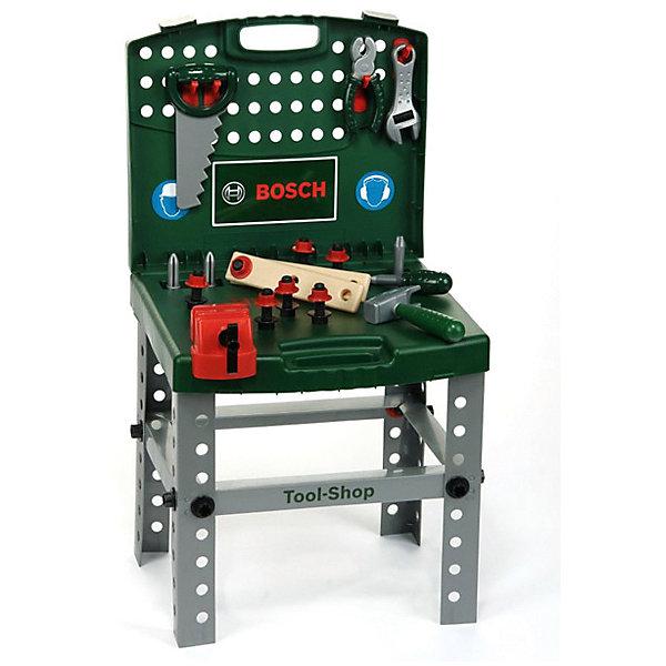 Игровой набор Klein Bosch Складной верстакНаборы инструментов<br>Характеристики товара:<br><br>• в комплекте: машина, шуруповерт, отвертка, 3 насадки, 4 запасных колеса, 6 аксессуаров для тюнинга;<br>• возраст: от 3 лет;<br>• материал: пластик;<br>• размер упаковки: 42х38х9 см;<br>• страна бренда: Германия.<br><br>Складной верстак Bosch даст ребенку возможность почувствовать себя настоящим мастером, а также научит быть аккуратным. В комплект входят пассатижи, пила, шуруповерт, гаечный ключ, отвертка и многие другие принадлежности. Все предметы компактно помещаются в чемоданчик. Игрушки имеют реалистичный вид с логотипами Bosch. Игрушки изготовлены из качественного пластика, безопасного для детей.<br><br>Верстак Bosch складной, Klein (Кляйн) можно купить в нашем интернет-магазине.<br>Ширина мм: 420; Глубина мм: 380; Высота мм: 90; Вес г: 2070; Возраст от месяцев: 36; Возраст до месяцев: 2147483647; Пол: Мужской; Возраст: Детский; SKU: 7360174;