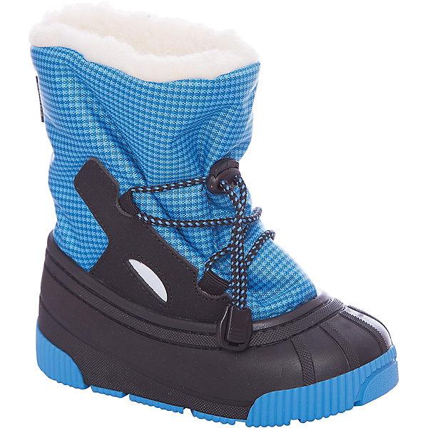 Сноубутсы Kapika для мальчикаСноубутсы<br>Характеристики товара:<br><br>• цвет: синий <br>• материал верха: текстиль/полимерный материал <br>• материал подкладки: шерсть 80%, искусственный мех 20%, <br>• стелька шерсть+фольга <br>• подошва: полимерный материал <br>• сезон: зима<br>• температурный режим: от +5 до -15<br>• страна бренда: Россия.<br><br>Сноубутсы Капика - идеальный вариант для зимней оттепели или морозных дней. Внутри -шерстяная подкладка, снаружи - плотный текстиль и непромокаемая калоша. Шнурок-утяжка позволяет отрегулировать сапожок на любой подъем и максимально облегчает одевание. Резинка-утяжка в верхней части предотвращает попадание снега во внутрь сапожка.<br><br>Протектор подошвы имеет анатомический рельеф и создает максимальный эффект против скольжения, что очень важно для маленьких детей.<br><br>Идеальная обувь для поздней осени, ранней весны, а также для тёплой и сырой погоды зимой.<br><br>Сноубутсы Kapika для мальчика можно купить в нашем интернет-магазине.<br>Ширина мм: 257; Глубина мм: 180; Высота мм: 130; Вес г: 420; Цвет: синий; Возраст от месяцев: 15; Возраст до месяцев: 18; Пол: Мужской; Возраст: Детский; Размер: 22/23,23,20/21,21; SKU: 7363145;