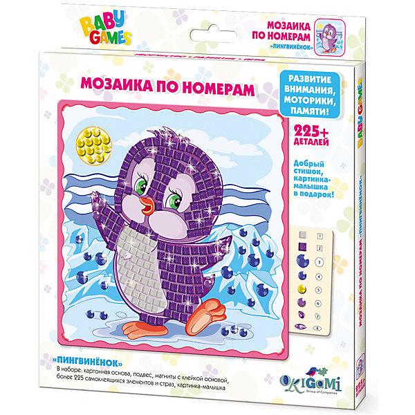 Для Малышей   Мозаика по номерам ПингвинёнокМозаика детская<br>Мозаика BABY GAMES с самоклеящимися элементами помогает изучить цвета и цифры, развивает мелкую моторику и воображение. Cделай свою картинку и укрась ее стразами! После того, как мозаика готова, ее можно повесить на стену или прикрепить с помощью магнитана холодильник. Мозаику BABYART отличает высокое качество, авторские дизайны картинок, прекрасное наполнение. В наборе: * картонная основа с картинкой (20x20см),* 225+ самоклеящихся элементов и страз* подвес* магниты с клейкой основой* картинка-малышка<br>Ширина мм: 205; Глубина мм: 230; Высота мм: 15; Вес г: 130; Возраст от месяцев: 48; Возраст до месяцев: 2147483647; Пол: Унисекс; Возраст: Детский; SKU: 7364898;