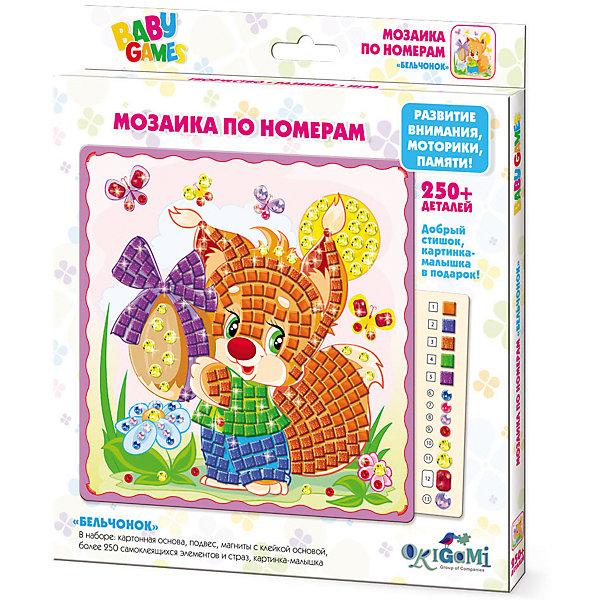 Для Малышей   Мозаика по номерам БельчонокМозаика детская<br>Мозаика BABY GAMES с самоклеящимися элементами помогает изучить цвета и цифры, развивает мелкую моторику и воображение. Cделай свою картинку и укрась ее стразами! После того, как мозаика готова, ее можно повесить на стену или прикрепить с помощью магнитана холодильник. Мозаику BABY GAMES отличает высокое качество, авторские дизайны картинок, прекрасное наполнение. В наборе: * картонная основа с картинкой (20x20см),* 250+ самоклеящихся элементов и страз* подвес* магниты с клейкой основой* картинка-малышка<br><br>Ширина мм: 205<br>Глубина мм: 230<br>Высота мм: 15<br>Вес г: 130<br>Возраст от месяцев: 48<br>Возраст до месяцев: 2147483647<br>Пол: Унисекс<br>Возраст: Детский<br>SKU: 7364899