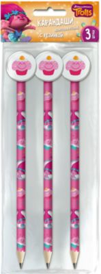 Limpopo 3 карандаша черногрфитовых с фигурной резинкой TROLLS