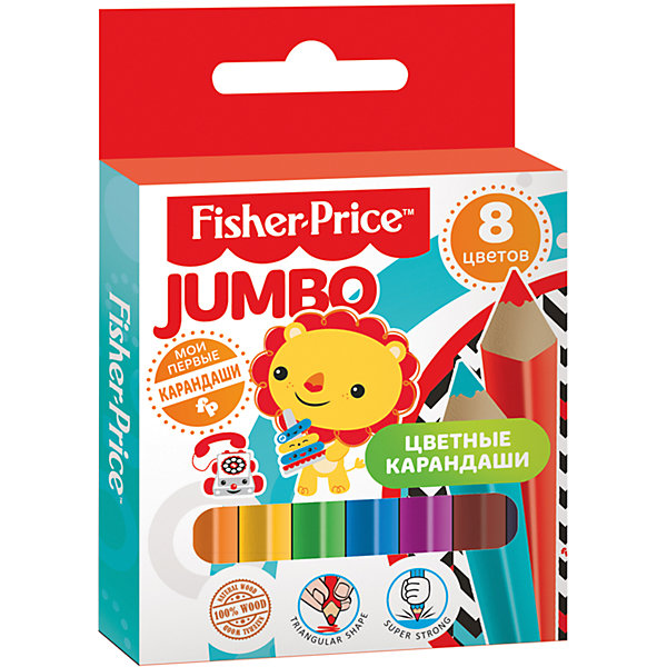 Цветные  карандаши MINI Jumbo Fisher Price 8 цветов деревянный корпусКарандаши для творчества<br>Характеристики:<br><br>• количество: 8шт.;<br>• материал: дерево ;<br>• упаковка: коробка;<br>• размер упаковки: 12х8,3х1см.;<br>• вес: 40г.;<br>• для детей в возрасте: от года.;<br>• страна производитель: Китай.<br><br>Набор цветных карандашей MINI Fisher Price (Мини Фишер Прайс) бренда «Limpopo» (Лимпопо), станет отличным приобретением для малышей. Он создан из качественных, экологически чистых материалов, что очень важно для детских товаров.<br><br>Карандаши имеют утолщённую трёхгранную форму корпуса. Выполнены из древесины высокого качества и прочным стержнем, который легко точится и не ломается. В наборе находится восемь карандашей разных цветов.<br><br>Качественные карандаши необходимы для любого художественного начинания. Малыши могут их использовать не только для выполнения заданий, но и для творчества.<br><br>Набор цветных карандашей MINI Fisher Price (Мини Фишер Прайс) можно купить в нашем интернет-магазине.<br><br>Ширина мм: 120<br>Глубина мм: 83<br>Высота мм: 10<br>Вес г: 40<br>Возраст от месяцев: 12<br>Возраст до месяцев: 72<br>Пол: Унисекс<br>Возраст: Детский<br>SKU: 7365733