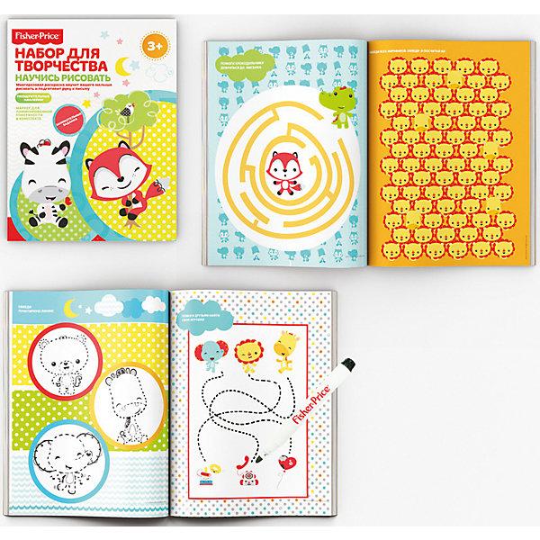 Набор для творчества Научись рисовать с многоразовыми раскрасками и фломастером Fisher PriceРаскраски для детей<br>Характеристики:<br><br>• количество: 12листов.;<br>• упаковка: OPP-пакет;<br>• размер упаковки: 26,5х22,5х04см.;<br>• размер альбома: 26х21см.;<br>• вес: 137г.;<br>• для детей в возрасте: от 3 лет.;<br>• страна производитель: Китай.<br><br>Набор для творчества «Научись рисовать» Fisher  Price (Фишер Прайс) бренда «Limpopo» (Лимпопо), станет отличным приобретением для любознательных малышей. Он создан из высококачественных, экологически чистых материалов, что очень важно для детских товаров.<br><br>Набор создан для развития творческих способностей малышей с самого раннего возраста. На каждой странице представлены разные задания, которые ребёнок должен выполнять в игровой форме, что делает их увлекательными и не утомляет малыша. Всего в комплекте двенадцать страниц,  лист с наклейками и стираемый фломастер.<br>Занимаясь малыши развивают мелкую моторику, интеллект, чувство цвета и просто весело вместе с родителями проводят время.<br><br>Набор для творчества «Научись рисовать» Fisher Price (Фишер Прайс) можно купить в нашем интернет-магазине.<br><br>Ширина мм: 265<br>Глубина мм: 225<br>Высота мм: 4<br>Вес г: 137<br>Возраст от месяцев: 12<br>Возраст до месяцев: 72<br>Пол: Унисекс<br>Возраст: Детский<br>SKU: 7365740