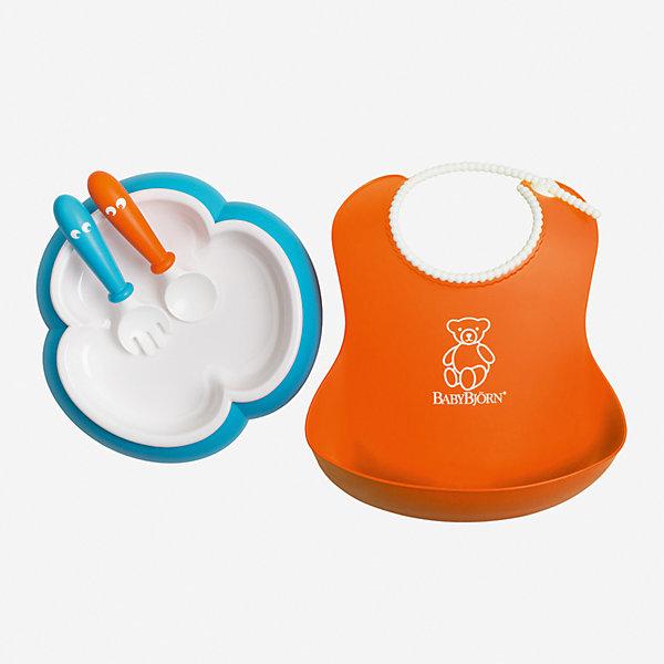 Набор для кормления BabyBjorn, оранжевый/бирюзовыйДетская посуда<br>Характеристики:<br><br>• детский набор для кормления пригодится на этапе введения прикорма;<br>• форма тарелки облегчает зачерпывание пищи столовыми приборами;<br>• тарелка не скользит по поверхности стола;<br>• регулируемая горловина нагрудника;<br>• имеется глубокий кармашек, куда попадают остатки пищи и капли жидкости;<br>• укороченная ручка ложки и вилки;<br>• тарелку, ложку и вилку можно использовать в микроволновой печи при низкой температуре (макс. 90 градусов);<br>• тарелка используется в микроволновой печи только для подогрева пищи, не для ее приготовления;<br>• предметы набора для кормления можно мыть в посудомоечной машине;<br>• в комплекте: тарелка, нагрудник, ложка, вилка;<br>• сертификация материалов;<br>• материал: пластик;<br>• не содержит бисфенол-А (BPA free).<br><br>На этапе введения прикорма удобнее использовать специальную детскую посуду. Набор для кормления BabyBjorn состоит из 4-х предметов, подходит малышам с 4-месячного возраста. Особая форма тарелки позволяет легче зачерпнуть пищу различной консистенции. Ложка и вилка имеют укороченную ручку. Нагрудник с глубоким кармашком имеет регулируемую горловину. Сертифицированные материалы, гипоаллергенный пластик – здоровье и безопасность вашего малыша.<br><br>Набор для кормления BabyBjorn, оранжевый/бирюзовый можно купить в нашем интернет-магазине.<br>Ширина мм: 390; Глубина мм: 260; Высота мм: 20; Вес г: 270; Возраст от месяцев: 4; Возраст до месяцев: 48; Пол: Унисекс; Возраст: Детский; SKU: 7370000;