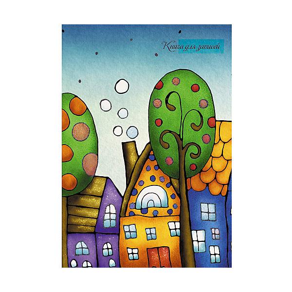 Сказочный город А6, 80 л.Бумажная продукция<br>Характеристики:<br><br>• возраст: от 7 лет<br>• формат: А6 (11х14,5 см.)<br>• количество листов: 80<br>• тип обложки: 7Бц - картонный переплет с поролоном<br>• отделка обложки: матовая ламинация, выборочный лак, перламутровые блестки<br>• внутренний блок: бумага офсет плотностью 70 г/м2, цветная<br>• линовка: линия<br>• крепление: сшивка<br><br>Книгу для записей «Сказочный город» можно использовать в качестве ежедневника, блокнота для рисования или записи важных событий.<br><br>Твердая обложка из плотного картона с поролоновой прокладкой сохранит книгу для записей в аккуратном состоянии на протяжении всего времени использования. Внутренний блок — бумага цветная офсетная. Блок сшитый.<br><br>Книгу для записей «Сказочный город» А6, 80 л. можно купить в нашем интернет-магазине.<br><br>Ширина мм: 147<br>Глубина мм: 11<br>Высота мм: 110<br>Вес г: 141<br>Возраст от месяцев: 84<br>Возраст до месяцев: 2147483647<br>Пол: Унисекс<br>Возраст: Детский<br>SKU: 7373846
