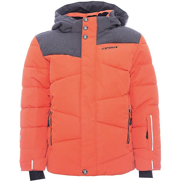 Куртка ICEPEAK для мальчикаВерхняя одежда<br>Характеристики товара:<br><br>• цвет: оранжевый<br>• состав ткани: 100% полиэстер<br>• подкладка: 100% полиэстер<br>• утеплитель: 100% полиэстер<br>• сезон: зима<br>• температурный режим: от -25 до 0<br>• водонепроницаемость: 5000 мм<br>• плотность утеплителя: 190/110 м2<br>• воздухопроницаемость: 10000 г/м2/24ч<br>• особенности модели: с капюшоном<br>• капюшон: без меха, съемный<br>• застежка: молния<br>• страна бренда: Финляндия<br>• страна изготовитель: Китай<br><br>Обеспечить ребенку тепло и комфорт в морозы поможет такая куртка для мальчика. Практичная детская куртка отлично подойдет для зимних холодов. Зимняя куртка дополнена удобными деталями - молния закрыта планкой, есть карманы и капюшон, утяжка, защита подбородка, снегозащитная юбка, регулируемый манжет, светоотражающие элементы, . <br><br>Куртку Icepeak (Айспик) для мальчика можно купить в нашем интернет-магазине.<br>Ширина мм: 356; Глубина мм: 10; Высота мм: 245; Вес г: 519; Цвет: оранжевый; Возраст от месяцев: 60; Возраст до месяцев: 72; Пол: Мужской; Возраст: Детский; Размер: 116,176,164,152,140,128; SKU: 7373974;