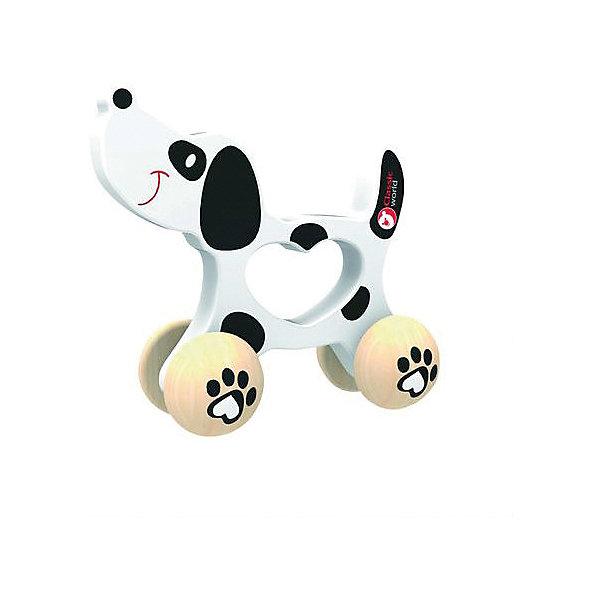 Деревянная каталка Classic World СобачкаДеревянные игрушки<br>Характеристики товара:<br><br>• возраст: от 1 года;<br>• материал: дерево;<br>• размер игрушки: 12х6х12 см;<br>• вес: 300 гр;<br>•страна производитель: Китай;<br>• бренд: Classic World.<br><br>Эта деревянная каталка «Собачка» далматинец станет лучшим другом каждому малышу. У каталки удобная ручка в форме сердца, что позволяет малышу без проблем носить игрушку и катать её. А компактные габариты игрушки позволяют брать каталку на улицу и в дорогу.<br><br>Игрушка каталка с самого малого возраста развивает мелкую моторику, координацию движений и активность ребенка. Формы и цвета привлекут внимание малышей.<br><br>Каталка изготовлена из высококачественного экологического дерева и покрашена в безопасную краску, абсолютно безопасную для детей.<br>Деревянную каталку Classic World «Собачка»  можно купить в нашем интернет-магазине.<br><br>Ширина мм: 120<br>Глубина мм: 110<br>Высота мм: 60<br>Вес г: 150<br>Возраст от месяцев: 36<br>Возраст до месяцев: 2147483647<br>Пол: Унисекс<br>Возраст: Детский<br>SKU: 7376717