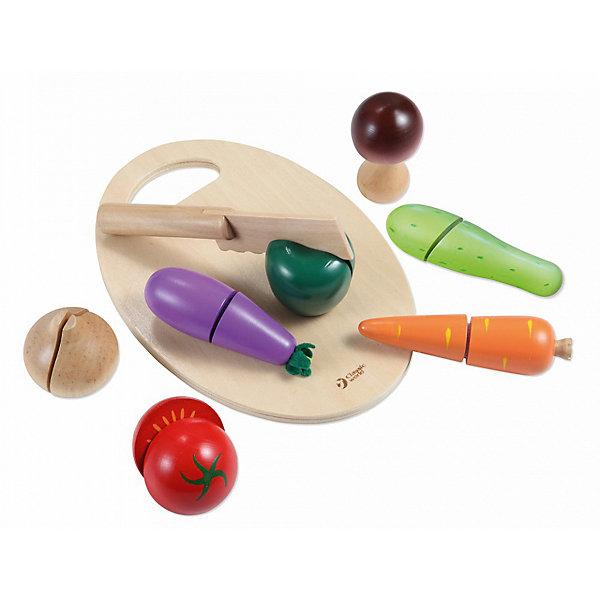 Игровой набор Classic World Нарезаем овощи, 9 предметовИгрушечные продукты питания<br>Характеристики товара:<br><br>• возраст: от 3 лет;<br>• материал: пластик, дерево;<br>• размер упаковки: 22х16х7 см;<br>• вес: 400 гр.;<br>•страна производитель: Китай;<br>• бренд: Classic World.<br><br>Этот деревянный игровой набор от бренда Classic World «Нарезаем овощи» понравится каждой юной помощнице маме на кухне. Игра с таким набором поможет развивать воображение и фантазию ребенка.<br><br>Набор поможет ребенку узнать, как проходит процесс нарезки овощей и как овощи выглядят в разрезе на примере таких овощей, как помидор, кабачок, баклажан, морковь, лук и перец. Также в набор входит разделочная доска и нож.<br><br>Играть с таким набором доставит маленькой хозяйке удовольствие и научит азам готовки. Набор изготовлен из высококачественного экологического дерева и покрашен в безопасную краску, абсолютно безопасную для детей.<br><br>Игровой набор Classic World «Нарезаем овощи» можно купить в нашем интернет-магазине.<br>Ширина мм: 220; Глубина мм: 72; Высота мм: 160; Вес г: 400; Возраст от месяцев: 36; Возраст до месяцев: 2147483647; Пол: Унисекс; Возраст: Детский; SKU: 7376721;