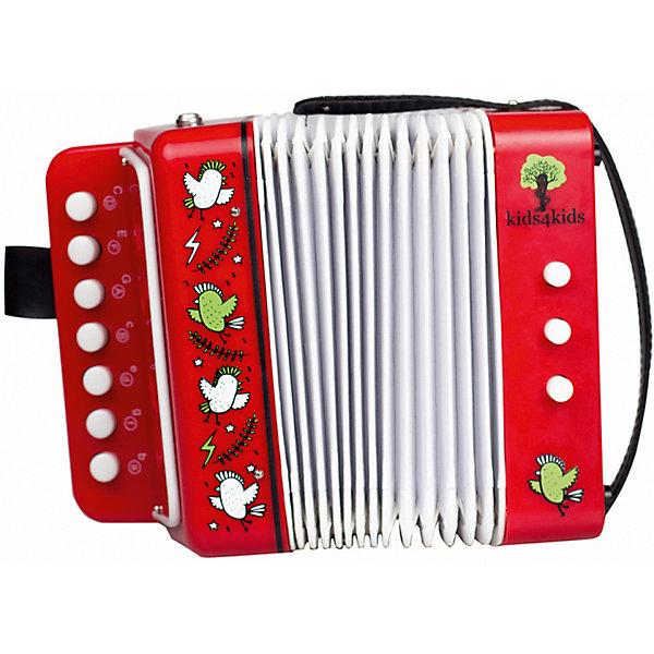 Детский аккордеон Kids4Kids Волшебные ноты, 7 клавишДругие музыкальные инструменты<br>Характеристики товара:<br><br>• возраст: от 3 лет;<br>• материал: пластик;<br>• размер упаковки: 18х10х18 см;<br>• вес: 800 гр.;<br>•страна производитель: Китай;<br>• бренд: Kids4kids.<br><br>Детский аккордеон Kids4kids Волшебные ноты (7 клавиш) научит малыша любить музыку, придумывать собственные музыкальные композиции, а также поможет развивать координацию движений, музыкальность, мелкую моторику и творческое мышление.<br><br>Игра на таком инструменте поднимает настроение, и воспитывает в малыше чувство ритма. У аккордеона чистый приятный звук, что сделает домашние концерты ребенка приятным занятием.<br><br>Игрушка выполнена из высококачественных материалов, что позволяет ей долго служить юному музыканту.<br><br>Аккордеон Kids4kids «Волшебные ноты» можно купить в нашем интернет-магазине.<br>Ширина мм: 100; Глубина мм: 185; Высота мм: 180; Вес г: 800; Возраст от месяцев: 36; Возраст до месяцев: 2147483647; Пол: Унисекс; Возраст: Детский; SKU: 7376722;