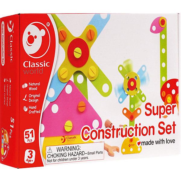 Деревянный конструктор Classic World Строим и играем с карточками-заданиями, 52 детали 20 карточекДеревянные конструкторы<br>Характеристики товара:<br><br>• возраст: от 2 лет;<br>• материал: дерево;<br>• размер упаковки: 45х30х3 см;<br>• вес: 2 кг;<br>•страна производитель: Китай;<br>• бренд: Classic World.<br><br>Оригинальный деревянный конструктор от бренда Classic World «Строим и играем» с карточками-заданиями помогает развивать мелкую моторику, логику и пространственное мышление малышей.<br><br>В состав конструктора входит 52 детали и карточки с заданиями для построения фигурок. С помощью болтов, соединяющих детали, можно создавать как плоские фигуры, так и 3D конструкции. По окончании игры, конструктор собирается в мешочек из ткани с принтом мишки, что обеспечивает компактное хранение.<br><br>Конструктор изготовлен из экологически чистого дерева и окрашен вручную безопасными детскими красками.<br><br>Развивающий конструктор Classic World «Строим и играем» можно купить в нашем интернет-магазине.<br><br>Ширина мм: 350<br>Глубина мм: 230<br>Высота мм: 60<br>Вес г: 400<br>Возраст от месяцев: 36<br>Возраст до месяцев: 2147483647<br>Пол: Унисекс<br>Возраст: Детский<br>SKU: 7376724