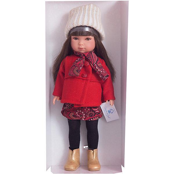 Классическая кукла Vestida de Azul Зима Pret-a-porte Карлотта брюнетка с челкой, 28 смКуклы<br>1. Очаровательная брюнетка Карлотта в модном зимнем образе в стиле pret-a-porte: красное пальто, теплое платье с рисунком, черные колготки, шарфик, вязанная шапочка с бубоном и бежевые полусапожки. <br>2. У куклы очень милое личико: пухлые щечки с румянцем, вздернутый носик и выразительные глазки с длинными ресницами, наклеенными вручную, которые выглядят как настоящие.<br>3. Длинные волосы куклы густо прошиты и напоминают натуральные. Челка прошита отдельно, а значит всегда будет красиво уложенной.  <br>4. Высокая детализация кукол: очень четко очерченные пальчики, складочки, румянец на щечках, коленках и локтях.<br>5. Кукла изготовлена из плотного гипоаллергенного винила без ароматизаторов, и самостоятельно стоит.<br>6. Благодаря подвижным рукам, ногам и голове, кукле можно придавать различные позы, что привнесет в игру реалистичность.<br>7. Рост куклы - 28 см.<br><br>Ширина мм: 195<br>Глубина мм: 95<br>Высота мм: 350<br>Вес г: 380<br>Возраст от месяцев: 36<br>Возраст до месяцев: 2147483647<br>Пол: Женский<br>Возраст: Детский<br>SKU: 7376728