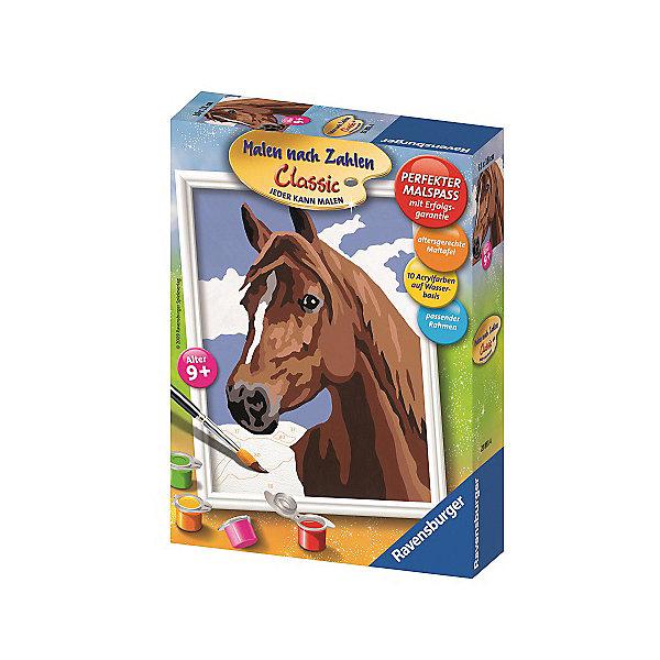 Раскрашивание по номерам «Лошадь»Раскраски по номерам<br>Характеристики:<br><br>• тип игрушки: набор для детского творчества;<br>• комплектация: фактурная картонная основа с пронумерованными контурами, акриловые краски, кисть, контрольный лист, подставка для красок в форме палитры;<br>• бренд: Ravensburger;<br>• упаковка: картон;<br>• размер: 16х5х22 см;<br>• вес: 299 гр;<br>• возраст: от 9 лет;<br>• материал: картон, акрил, пластик.<br><br>Раскрашивание по номерам «Лошадь» станет отличным подарком как для взрослого, так и для ребенка от девяти лет. На данной картине изображена красивая лошадь бурого цвета с белыми пятнами.<br><br>Рисовать картины в такой технике очень просто и доступно, даже если ребенок не имеет художественных навыков. Это связанно с тем, что полотно картины разбито на пронумерованные сектора, которым соответствует определенный цвет краски. Прежде чем приступить к раскрашиванию самой картины, можно будет потренироваться на отдельной палитре. Каждая баночка с красками плотно запечатана.<br><br>Такая картина станет отличным украшением интерьера и на долгое время увлечет ребенка. При этом с таким подарком у ребенка будет развиваться усидчивость и мелкая моторика рук.<br><br>Раскрашивание по номерам «Лошадь» можно купить в нашем интернет-магазине.<br>Ширина мм: 160; Глубина мм: 50; Высота мм: 220; Вес г: 299; Возраст от месяцев: -2147483648; Возраст до месяцев: 2147483647; Пол: Унисекс; Возраст: Детский; SKU: 7376751;