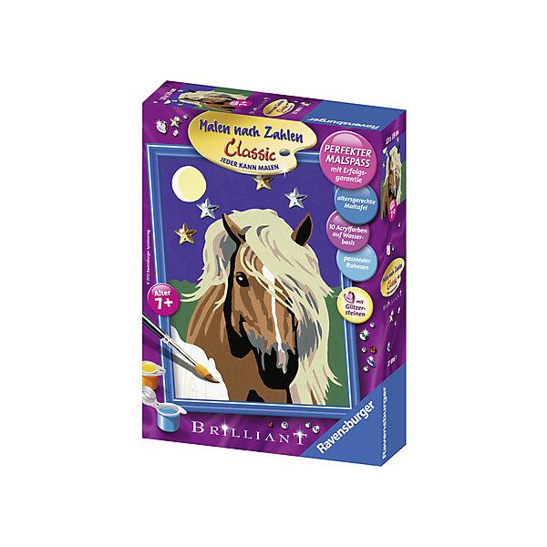 Раскрашивание по номерам «Лошадь в лунном свете» Размер картинки – 18*13 смРаскраски по номерам<br>Характеристики:<br><br>• тип игрушки: набор для детского творчества;<br>• комплектация: фактурная картонная основа с пронумерованными контурами, акриловые краски, кисть, контрольный лист, подставка для красок в форме палитры;<br>• бренд: Ravensburger;<br>• упаковка: картон;<br>• размер: 16х4,5х22 см;<br>• вес: 301 гр;<br>• размер картины: 18х13 см;<br>• возраст: от 9 лет;<br>• материал: картон, акрил, пластик.<br><br>Раскрашивание по номерам «Лошадь в лунном свете» станет отличным подарком как для взрослого, так и для ребенка от девяти лет. На данной картине изображена красивая лошадь бурого цвета с белоснежной гривой на фоне звездного неба. <br>Рисовать картины в такой технике очень просто и доступно, даже если ребенок не имеет художественных навыков. Это связанно с тем, что полотно картины разбито на пронумерованные сектора, которым соответствует определенный цвет краски. Прежде чем приступить к раскрашиванию самой картины, можно будет потренироваться на отдельной палитре. Каждая баночка с красками плотно запечатана.<br>Такая картина станет отличным украшением интерьера и на долгое время увлечет ребенка. При этом с таким подарком у ребенка будет развиваться усидчивость и мелкая моторика рук.<br><br>Раскрашивание по номерам «Лошадь в лунном свете» можно купить в нашем интернет-магазине.<br>Ширина мм: 160; Глубина мм: 45; Высота мм: 220; Вес г: 301; Возраст от месяцев: -2147483648; Возраст до месяцев: 2147483647; Пол: Унисекс; Возраст: Детский; SKU: 7376754;