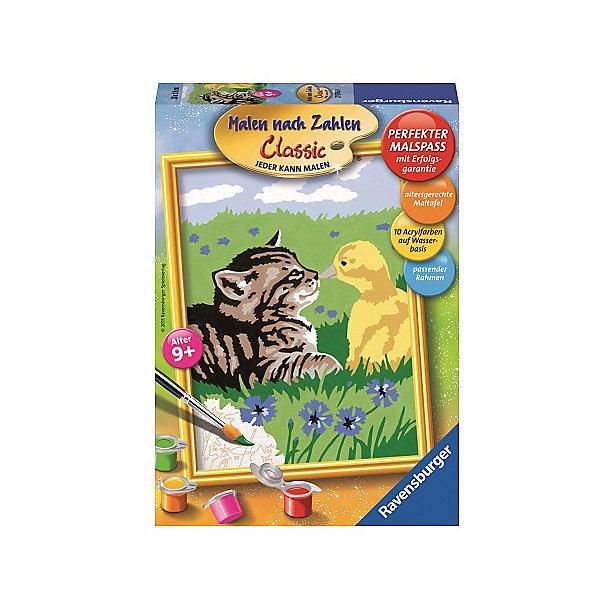 Раскрашивание по номерам «Дружба»Картины по номерам<br>Характеристики:<br><br>• тип игрушки: набор для детского творчества;<br>• комплектация: фактурная картонная основа с пронумерованными контурами, акриловые краски, кисть, контрольный лист;<br>• бренд: Ravensburger;<br>• упаковка: картон;<br>• размер: 16х5х22 см;<br>• вес: 300 гр;<br>• возраст: от 9 лет;<br>• материал: картон, акрил, пластик.<br><br>Раскрашивание по номерам «Дружба» станет отличным подарком как для взрослого, так и для ребенка от девяти лет. На данной картине изображены котенок и маленький желтый утенок на зеленом лугу.        <br>Рисовать картины в такой технике очень просто и доступно, даже если ребенок не имеет художественных навыков. Это связанно с тем, что полотно картины разбито на пронумерованные сектора, которым соответствует определенный цвет краски. Прежде чем приступить к раскрашиванию самой картины, можно будет потренироваться на отдельной палитре. Каждая баночка с красками плотно запечатана.<br>Такая картина станет отличным украшением интерьера и на долгое время увлечет ребенка. При этом с таким подарком у ребенка будет развиваться усидчивость и мелкая моторика рук.<br><br>Раскрашивание по номерам «Дружба» можно купить в нашем интернет-магазине.<br>Ширина мм: 160; Глубина мм: 50; Высота мм: 220; Вес г: 300; Возраст от месяцев: -2147483648; Возраст до месяцев: 2147483647; Пол: Унисекс; Возраст: Детский; SKU: 7376765;
