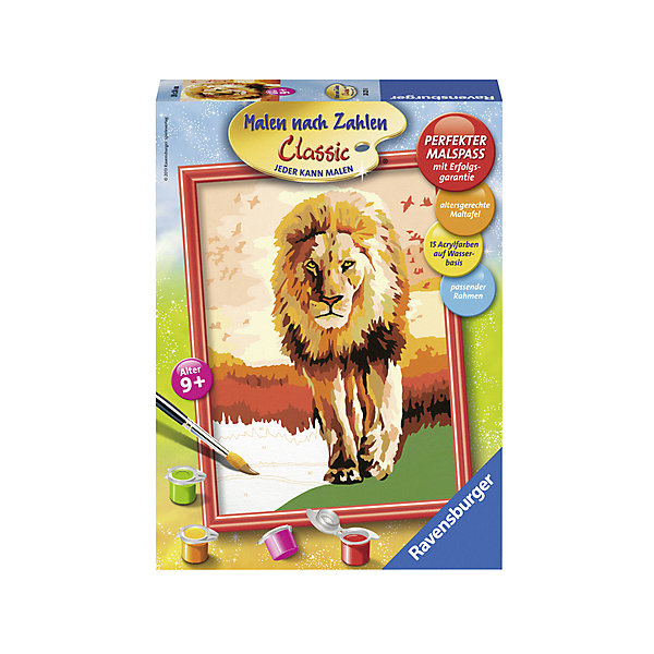 Раскрашивание по номерам «Гордый лев» Размер картинки – 18*24 смРаскраски по номерам<br>Характеристики:<br><br>• тип игрушки: набор для детского творчества;<br>• комплектация: фактурная картонная основа с пронумерованными контурами, акриловые краски, кисть, контрольный лист;<br>• бренд: Ravensburger;<br>• упаковка: картон;<br>• размер: 20х4,5х26,5 см;<br>• вес: 430 гр;<br>• размер картины: 18х24 см;<br>• возраст: от 9 лет;<br>• материал: картон, акрил, пластик.<br><br>Раскрашивание по номерам «Гордый лев» станет отличным подарком как для взрослого, так и для ребенка от девяти лет. На данной картине изображен большой лев с огромной гривой в центре саванны.           <br>Рисовать картины в такой технике очень просто и доступно, даже если ребенок не имеет художественных навыков. Это связанно с тем, что полотно картины разбито на пронумерованные сектора, которым соответствует определенный цвет краски. Прежде чем приступить к раскрашиванию самой картины, можно будет потренироваться на отдельной палитре. Каждая баночка с красками плотно запечатана.<br>Такая картина станет отличным украшением интерьера и на долгое время увлечет ребенка. При этом с таким подарком у ребенка будет развиваться усидчивость и мелкая моторика рук.<br><br>Раскрашивание по номерам «Гордый лев» можно купить в нашем интернет-магазине.<br><br>Ширина мм: 200<br>Глубина мм: 45<br>Высота мм: 265<br>Вес г: 430<br>Возраст от месяцев: -2147483648<br>Возраст до месяцев: 2147483647<br>Пол: Унисекс<br>Возраст: Детский<br>SKU: 7376769