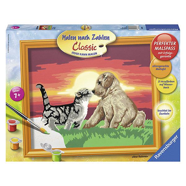 Раскрашивание по номерам «Котенок и щенок» Размер картинки – 30*24 смСимвол года<br>Характеристики:<br><br>• тип игрушки: набор для детского творчества;<br>• комплектация: фактурная картонная основа с пронумерованными контурами, акриловые краски, кисть, контрольный лист;<br>• бренд: Ravensburger;<br>• упаковка: картон;<br>• размер: 36х4х26,5 см;<br>• вес: 673 гр;<br>• размер картины: 30х24 см;<br>• возраст: от 9 лет;<br>• материал: картон, акрил, пластик.<br><br>Раскрашивание по номерам «Котенок и щенок» станет отличным подарком как для взрослого, так и для ребенка от девяти лет. На данной картине изображены полосатфй котенок и кремового окраса щенок, которые играют на закате.              <br>Рисовать картины в такой технике очень просто и доступно, даже если ребенок не имеет художественных навыков. Это связанно с тем, что полотно картины разбито на пронумерованные сектора, которым соответствует определенный цвет краски. Прежде чем приступить к раскрашиванию самой картины, можно будет потренироваться на отдельной палитре. Каждая баночка с красками плотно запечатана.<br>Такая картина станет отличным украшением интерьера и на долгое время увлечет ребенка. При этом с таким подарком у ребенка будет развиваться усидчивость и мелкая моторика рук.<br><br>Раскрашивание по номерам «Котенок и щенок» можно купить в нашем интернет-магазине.<br>Ширина мм: 360; Глубина мм: 40; Высота мм: 265; Вес г: 673; Возраст от месяцев: -2147483648; Возраст до месяцев: 2147483647; Пол: Унисекс; Возраст: Детский; SKU: 7376772;