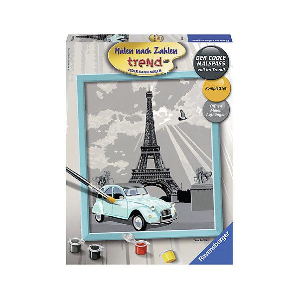 Раскрашивание по номерам «Париж» Размер картинки – 24*30 смРаскраски по номерам<br>Характеристики:<br><br>• тип игрушки: набор для детского творчества;<br>• комплектация: фактурная картонная основа с пронумерованными контурами, акриловые краски, кисть, контрольный лист;<br>• бренд: Ravensburger;<br>• упаковка: картон;<br>• размер: 26,5х4х36 см;<br>• вес: 676 гр;<br>• размер картины: 30х24 см;<br>• возраст: от 9 лет;<br>• материал: картон, акрил, пластик.<br><br>Раскрашивание по номерам «Париж» станет отличным подарком как для взрослого, так и для ребенка от девяти лет. На данной картине изображена знаменитая визитная карточка города – Эйфелевая башня с ретро-автомобилем мятного цвета на переднем плане. <br><br>Рисовать картины в такой технике очень просто и доступно, даже если ребенок не имеет художественных навыков. Это связанно с тем, что полотно картины разбито на пронумерованные сектора, которым соответствует определенный цвет краски. Прежде чем приступить к раскрашиванию самой картины, можно будет потренироваться на отдельной палитре. Каждая баночка с красками плотно запечатана.<br>Такая картина станет отличным украшением интерьера и на долгое время увлечет ребенка. При этом с таким подарком у ребенка будет развиваться усидчивость и мелкая моторика рук.<br><br>Раскрашивание по номерам «Париж» можно купить в нашем интернет-магазине.<br>Ширина мм: 265; Глубина мм: 45; Высота мм: 360; Вес г: 676; Возраст от месяцев: -2147483648; Возраст до месяцев: 2147483647; Пол: Унисекс; Возраст: Детский; SKU: 7376775;