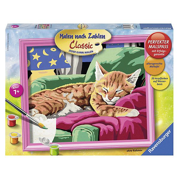 Раскрашивание по номерам «Спящий котенок» Размер картинки – 30*24 смРаскраски по номерам<br>Характеристики:<br><br>• тип игрушки: набор для детского творчества;<br>• комплектация: фактурная картонная основа с пронумерованными контурами, акриловые краски, кисть, контрольный лист;<br>• бренд: Ravensburger;<br>• упаковка: картон;<br>• размер: 36х4х26,5 см;<br>• вес: 660 гр;<br>• размер картины: 30х24 см;<br>• возраст: от 9 лет;<br>• материал: картон, акрил, пластик.<br><br>Раскрашивание по номерам «Спящий котенок» станет отличным подарком как для взрослого, так и для ребенка от девяти лет. На данной картине изображен маленький полосатый котенок, который уснул на зеленом кресле.                  <br>Рисовать картины в такой технике очень просто и доступно, даже если ребенок не имеет художественных навыков. Это связанно с тем, что полотно картины разбито на пронумерованные сектора, которым соответствует определенный цвет краски. Прежде чем приступить к раскрашиванию самой картины, можно будет потренироваться на отдельной палитре. Каждая баночка с красками плотно запечатана.<br>Такая картина станет отличным украшением интерьера и на долгое время увлечет ребенка. При этом с таким подарком у ребенка будет развиваться усидчивость и мелкая моторика рук.<br><br>Раскрашивание по номерам «Спящий котенок» можно купить в нашем интернет-магазине.<br>Ширина мм: 360; Глубина мм: 45; Высота мм: 265; Вес г: 660; Возраст от месяцев: -2147483648; Возраст до месяцев: 2147483647; Пол: Унисекс; Возраст: Детский; SKU: 7376776;