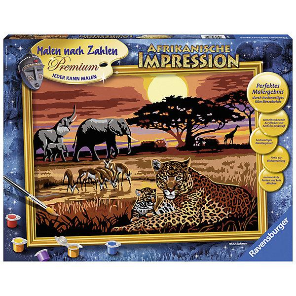 Раскрашивание по номерам «Африка» Размер картинки – 40*30 смРаскраски по номерам<br>Характеристики:<br><br>• тип игрушки: набор для детского творчества;<br>• комплектация: фактурная картонная основа с пронумерованными контурами, акриловые краски, кисть, контрольный лист;<br>• бренд: Ravensburger;<br>• упаковка: картон;<br>• размер: 43,5х4х33,5 см;<br>• вес: 883 гр;<br>• размер картины: 40х30 см;<br>• возраст: от 9 лет;<br>• материал: картон, акрил, пластик.<br><br>Раскрашивание по номерам «Африка» станет отличным подарком как для взрослого, так и для ребенка от девяти лет. На данной картине изображены животные саванны. Среди них слоны, тигры, лани у водопоя и жирафы на фоне заката солнца.                    <br>Рисовать картины в такой технике очень просто и доступно, даже если ребенок не имеет художественных навыков. Это связанно с тем, что полотно картины разбито на пронумерованные сектора, которым соответствует определенный цвет краски. Прежде чем приступить к раскрашиванию самой картины, можно будет потренироваться на отдельной палитре. Каждая баночка с красками плотно запечатана.<br>Такая картина станет отличным украшением интерьера и на долгое время увлечет ребенка. При этом с таким подарком у ребенка будет развиваться усидчивость и мелкая моторика рук.<br><br>Раскрашивание по номерам «Африка» можно купить в нашем интернет-магазине.<br>Ширина мм: 435; Глубина мм: 40; Высота мм: 335; Вес г: 883; Возраст от месяцев: -2147483648; Возраст до месяцев: 2147483647; Пол: Унисекс; Возраст: Детский; SKU: 7376778;