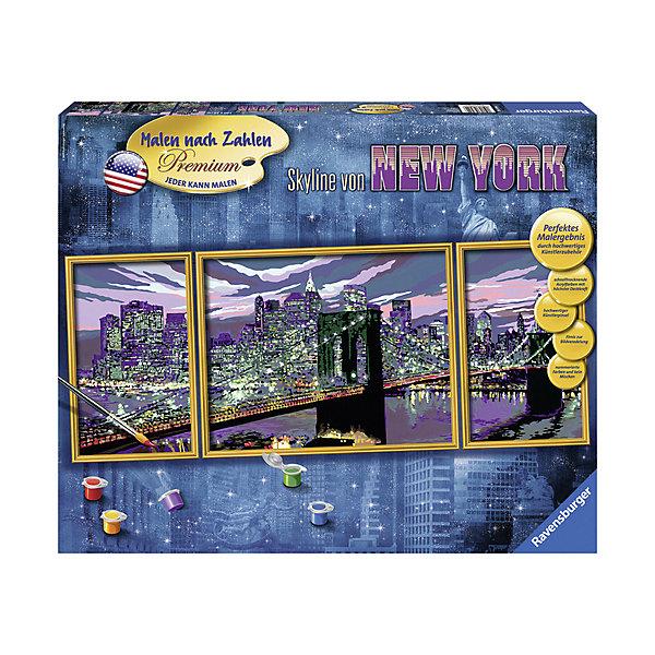 Раскрашивание по номерам «Небоскребы  Нью-Йорка» Размер картинки – 100*40 смРаскраски по номерам<br>Характеристики:<br><br>• тип игрушки: набор для детского творчества;<br>• комплектация: фактурная картонная основа с пронумерованными контурами, акриловые краски, кисть, контрольный лист;<br>• бренд: Ravensburger;<br>• упаковка: картон;<br>• размер: 53,5х4х43,5 см;<br>• вес: 1,925 кг;<br>• размер картины: 100х40 см;<br>• возраст: от 9 лет;<br>• материал: картон, акрил, пластик.<br><br>Раскрашивание по номерам триптих «Небоскребы  Нью-Йорка» станет отличным подарком как для взрослого, так и для ребенка от девяти лет. На данной картине изображены исполинсткие визитные карточки города – небоскребы.                      <br>Рисовать картины в такой технике очень просто и доступно, даже если ребенок не имеет художественных навыков. Это связанно с тем, что полотно картины разбито на пронумерованные сектора, которым соответствует определенный цвет краски. Прежде чем приступить к раскрашиванию самой картины, можно будет потренироваться на отдельной палитре. Каждая баночка с красками плотно запечатана.<br>Такая картина станет отличным украшением интерьера и на долгое время увлечет ребенка. При этом с таким подарком у ребенка будет развиваться усидчивость и мелкая моторика рук.<br><br>Раскрашивание по номерам триптих «Небоскребы  Нью-Йорка» можно купить в нашем интернет-магазине.<br>Ширина мм: 535; Глубина мм: 40; Высота мм: 435; Вес г: 1925; Возраст от месяцев: -2147483648; Возраст до месяцев: 2147483647; Пол: Унисекс; Возраст: Детский; SKU: 7376781;