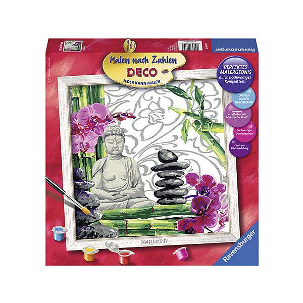 Раскрашивание по номерам «Гармония» Размер картинки – 30*30 смРаскраски по номерам<br>Характеристики:<br>• тип игрушки: набор для детского творчества;<br>• комплектация: фактурная картонная основа с пронумерованными контурами, акриловые краски, кисть, контрольный лист;<br>• бренд: Ravensburger;<br>• упаковка: картон;<br>• размер: 32х4х32 см;<br>• вес: 731 гр;<br>• размер картины: 30х30 см;<br>• возраст: от 9 лет;<br>• материал: картон, акрил, пластик.<br><br>Раскрашивание по номерам «Гармония» станет отличным подарком как для взрослого, так и для ребенка от девяти лет. На данной картине изображен будда, красивые орхидеи и сад камней.                         <br>Рисовать картины в такой технике очень просто и доступно, даже если ребенок не имеет художественных навыков. Это связанно с тем, что полотно картины разбито на пронумерованные сектора, которым соответствует определенный цвет краски. Прежде чем приступить к раскрашиванию самой картины, можно будет потренироваться на отдельной палитре. Каждая баночка с красками плотно запечатана.<br>Такая картина станет отличным украшением интерьера и на долгое время увлечет ребенка. При этом с таким подарком у ребенка будет развиваться усидчивость и мелкая моторика рук.<br>Раскрашивание по номерам «Гармония» можно купить в нашем интернет-магазине.<br>Ширина мм: 320; Глубина мм: 40; Высота мм: 320; Вес г: 731; Возраст от месяцев: -2147483648; Возраст до месяцев: 2147483647; Пол: Унисекс; Возраст: Детский; SKU: 7376788;