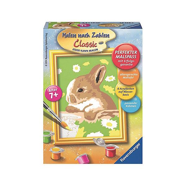 Раскрашивание по номерам  «Кролик в ромашках» Размер картинкиРаскраски по номерам<br>Характеристики:<br><br>• тип игрушки: набор для детского творчества;<br>• комплектация: фактурная картонная основа с пронумерованными контурами, акриловые краски, кисть, контрольный лист;<br>• бренд: Ravensburger;<br>• упаковка: картон;<br>• размер: 11х3х15 см;<br>• вес: 126 гр;<br>• возраст: от 9 лет;<br>• материал: картон, акрил, пластик.<br><br>Раскрашивание по номерам «Кролик в ромашках» станет отличным подарком как для взрослого, так и для ребенка от девяти лет. На данной картине изображен маленький милый кролик, который сидит в белоснежных ромашках.                        <br>   <br>Рисовать картины в такой технике очень просто и доступно, даже если ребенок не имеет художественных навыков. Это связанно с тем, что полотно картины разбито на пронумерованные сектора, которым соответствует определенный цвет краски. Прежде чем приступить к раскрашиванию самой картины, можно будет потренироваться на отдельной палитре. Каждая баночка с красками плотно запечатана.<br><br>Такая картина станет отличным украшением интерьера и на долгое время увлечет ребенка. При этом с таким подарком у ребенка будет развиваться усидчивость и мелкая моторика рук.<br><br>Раскрашивание по номерам «Кролик в ромашках» можно купить в нашем интернет-магазине.<br>Ширина мм: 110; Глубина мм: 30; Высота мм: 150; Вес г: 126; Возраст от месяцев: -2147483648; Возраст до месяцев: 2147483647; Пол: Унисекс; Возраст: Детский; SKU: 7376795;