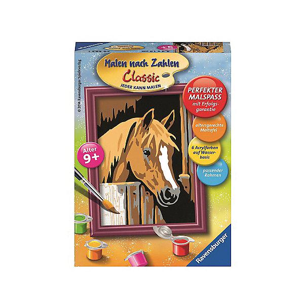 Раскрашивание по номерам  «Лошадь в стойле» Размер картинкиРаскраски по номерам<br>Характеристики:<br><br>• тип игрушки: набор для детского творчества;<br>• комплектация: фактурная картонная основа с пронумерованными контурами, акриловые краски, кисть, контрольный лист;<br>• бренд: Ravensburger;<br>• упаковка: картон;<br>• размер: 11х3х15 см;<br>• вес: 126 гр;<br>• возраст: от 9 лет;<br>• материал: картон, акрил, пластик.<br><br>Раскрашивание по номерам «Лошадь в стойле» станет отличным подарком как для взрослого, так и для ребенка от девяти лет. На данной картине изображена красивая лошадь бурого цвета с белым пятнышком на лбу.<br><br>Рисовать картины в такой технике очень просто и доступно, даже если ребенок не имеет художественных навыков. Это связанно с тем, что полотно картины разбито на пронумерованные сектора, которым соответствует определенный цвет краски. Прежде чем приступить к раскрашиванию самой картины, можно будет потренироваться на отдельной палитре. Каждая баночка с красками плотно запечатана.<br><br>Такая картина станет отличным украшением интерьера и на долгое время увлечет ребенка. При этом с таким подарком у ребенка будет развиваться усидчивость и мелкая моторика рук.<br><br>Раскрашивание по номерам «Лошадь в стойле» можно купить в нашем интернет-магазине.<br>Ширина мм: 110; Глубина мм: 30; Высота мм: 150; Вес г: 126; Возраст от месяцев: -2147483648; Возраст до месяцев: 2147483647; Пол: Унисекс; Возраст: Детский; SKU: 7376796;