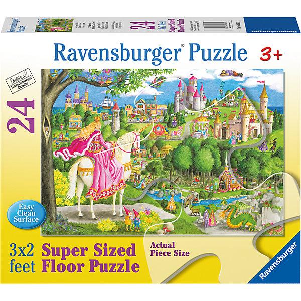 Пазл Однажды в сказке 24 шт (размер картинки 90*60см)Пазлы до 24 деталей<br>Характеристики:<br><br>• тип игрушки: пазл;<br>• комплектация: 24 элемента;<br>• бренд: Ravensburger;<br>• упаковка: картон;<br>• размер: 30,5х6,7х25,3 см;<br>• вес: 1,2 кг;<br>• возраст: от 3 лет;<br>• материал: картон.<br><br>Пазл «Однажды в сказке» 24 шт представляет из себя увлекательную игру для детей от трех лет. Детский пазл-коврик для маленьких детей увлечет их своей красочностью и сказочностью. Благодаря крупным деталям и небольшому их количеству собирать пазл от бренда Ravensburger будет не сложно - это смогут сделать дети старше 3 лет. <br><br>Высокие замки, таинственные леса, прекрасная принцесса и даже дракон перенесут ребенка в мир волшебства. Приятным сюрпризом будет возможность не только собрать пазл в картинку, но еще и использовать его в виде напольного коврика, который к тому же еще и легко очищается. Пазл-коврик достигает в длину чуть меньше метра, поэтому малыш с легкостью поместится на нем.<br><br>Пазл «Однажды в сказке» 24 шт можно купить в нашем интернет-магазине.<br>Ширина мм: 305; Глубина мм: 67; Высота мм: 253; Вес г: 1206; Возраст от месяцев: -2147483648; Возраст до месяцев: 2147483647; Пол: Женский; Возраст: Детский; SKU: 7376798;