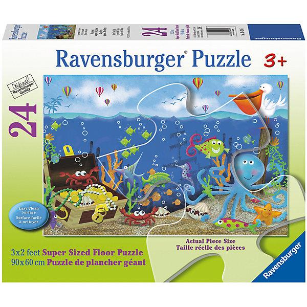 Пазл Подводные сокровища 24 шт (размер картинки 90*60 см)Пазлы для малышей<br>Характеристики:<br><br>• тип игрушки: пазл;<br>• комплектация: 24 элемента;<br>• бренд: Ravensburger;<br>• упаковка: картон;<br>• размер: 30,5х6,7х25,3 см;<br>• вес: 1,2 кг;<br>• возраст: от 3 лет;<br>• материал: картон.<br><br>Пазл «Подводные сокровища» 24 шт представляет из себя увлекательную игру для детей от трех лет. Детский пазл-коврик для маленьких детей увлечет их своей красочностью и сказочностью. Благодаря крупным деталям и небольшому их количеству собирать пазл от бренда Ravensburger будет не сложно - это смогут сделать дети старше 3 лет. <br><br>Пазл состоит из 24 крупных деталей различных форм, изготовленных из плотного картона. Собранный пазл содержит изображение подводного мира с забавными морскими жителями и сундуком сокровищ.   Приятным сюрпризом будет возможность не только собрать пазл в картинку, но еще и использовать его в виде напольного коврика, который к тому же еще и легко очищается. <br><br>Пазл «Подводные сокровища» 24 шт можно купить в нашем интернет-магазине.<br><br>Ширина мм: 305<br>Глубина мм: 67<br>Высота мм: 253<br>Вес г: 1241<br>Возраст от месяцев: -2147483648<br>Возраст до месяцев: 2147483647<br>Пол: Унисекс<br>Возраст: Детский<br>SKU: 7376799