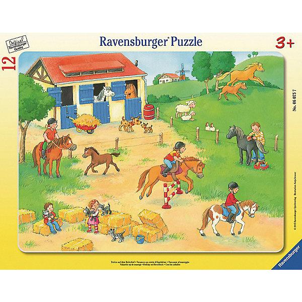 Пазл «Выходные на конюшне»   12штПазлы до 24 деталей<br>Характеристики:<br><br>• тип игрушки: пазл;<br>• комплектация: 12 эл.;<br>• бренд: Ravensburger;<br>• упаковка: картон;<br>• размер: 38 х1х30 см;<br>• вес: 325 гр;<br>• возраст: от 3 лет;<br>• материал: картон.<br><br>Пазл «Выходные на конюшне» 12 шт представляет из себя увлекательную игру для детей от трех лет. Набор состоит из 12 деталей, выполненных из высококачественного картона. При их изготовлении использовались инструменты ручной работы, что полностью исключает возможность повтора элементов. Крупные детали будет удобно собирать даже маленьким детям, а красочное изображение с веселыми лошадками на фоне зеленого луга непременно привлечет внимание ребенка. <br><br>Собирание картинок-пазлов очень полезно для детей. Такое занятие позволяет развивать мелкую моторику ребенка, усидчивость, внимательность. Пазл надолго увлечет малыша. <br><br>Пазл «Выходные на конюшне» 12 шт можно купить в нашем интернет-магазине.<br>Ширина мм: 380; Глубина мм: 10; Высота мм: 300; Вес г: 325; Возраст от месяцев: -2147483648; Возраст до месяцев: 2147483647; Пол: Унисекс; Возраст: Детский; SKU: 7376800;