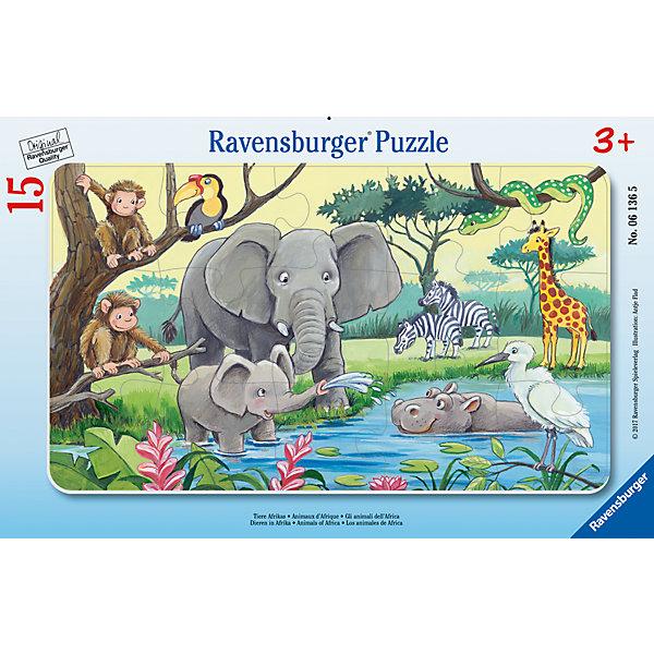 Пазл Африканские животные 15 штПазлы до 24 деталей<br>Характеристики:<br><br>• тип игрушки: пазл;<br>• комплектация: 15 эл.;<br>• бренд: Ravensburger;<br>• упаковка: картон;<br>• размер: 29,5х5х19 см;<br>• вес: 165 гр;<br>• возраст: от 3 лет;<br>• материал: картон.<br><br>Пазл «Африканские животные» 15 шт представляет из себя увлекательную игру для детей от трех лет. Набор состоит из 15 деталей, выполненных из высококачественного картона. <br>Это простой пазл, который рассчитан на младших детишек. 15 объемных красочных элемента  позволяют маленьким  любителям головоломок смогут собрать замечательную картинку с изображением различных видов животных, обитающих на Африканском континенте. Сборка данного пазла сможет увлечь детей и поспособствовать развитию логического мышления и усидчивости. Собранный пазл можно повесить в рамке как  украшение или многократно собирать и разбирать. <br><br>Собирание картинок-пазлов очень полезно для детей. Пазл надолго увлечет малыша.  Они развивают образное и логическое мышление, наблюдательность и внимательность, а также мелкую моторику и координацию движений рук.<br><br>Пазл «Африканские животные» 15 шт  можно купить в нашем интернет-магазине.<br><br>Ширина мм: 295<br>Глубина мм: 5<br>Высота мм: 190<br>Вес г: 165<br>Возраст от месяцев: -2147483648<br>Возраст до месяцев: 2147483647<br>Пол: Унисекс<br>Возраст: Детский<br>SKU: 7376805