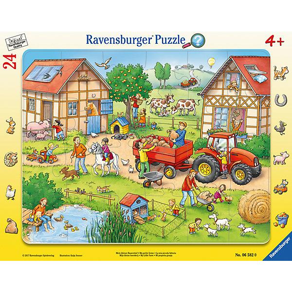 Пазл Жизнь на ферме 24 штПазлы для малышей<br>Характеристики:<br><br>• тип игрушки: пазл;<br>• комплектация: 24 эл.;<br>• бренд: Ravensburger;<br>• упаковка: картон;<br>• размер: 38х5х30 см;<br>• вес: 323 гр;<br>• возраст: от 3 лет;<br>• материал: картон.<br><br>Пазл «Жизнь на ферме» 24 шт представляет из себя увлекательную игру для детей от трех лет. Набор состоит из 24 деталей, выполненных из высококачественного картона. <br>Это простой пазл, который рассчитан на младших детишек. Воссоздав по деталям рисунок, на нем можно увидеть большое фермерское хозяйство. Здесь есть много домашних животных - коровы, лошади, поросята, кролики, овцы, козы, уточки и куры. Взрослые фермеры трудятся на ферме, а дети играют поблизости с животными. Двое ребят на рисунке собирают яблоки с дерева. Вдалеке от фермы виднеется сельская дорога, по которой едет нагруженный трактор, а над ним пролетает воздушный шар.<br><br>Сборка данного пазла сможет увлечь детей и поспособствовать развитию логического мышления и усидчивости. Собранный пазл можно повесить в рамке как  украшение. Собирание картинок-пазлов очень полезно для детей. Они развивают образное и логическое мышление, наблюдательность и внимательность, а также мелкую моторику и координацию движений рук.<br><br>Пазл «Жизнь на ферме» 24 шт  можно купить в нашем интернет-магазине.<br>Ширина мм: 380; Глубина мм: 5; Высота мм: 300; Вес г: 318; Возраст от месяцев: -2147483648; Возраст до месяцев: 2147483647; Пол: Унисекс; Возраст: Детский; SKU: 7376808;